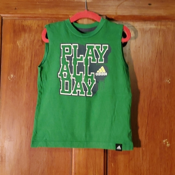 """**5/$25** Adidas Green """"Play All Day"""" Tank Size 3T"""